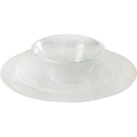 Circle Glass Textured 12 Piece Dinnerware Set, Service for 4