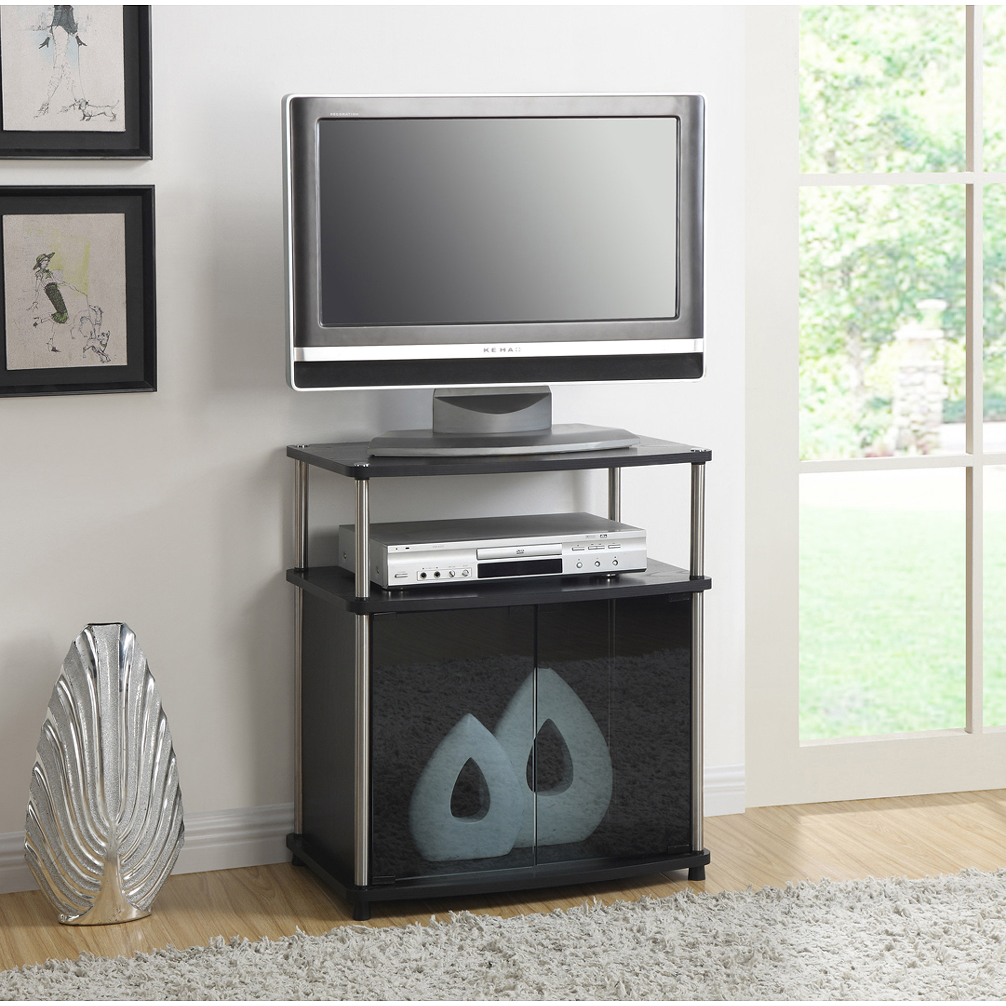 Convenience Concepts Designs2go No Tools Tv Stand With Black Glass
