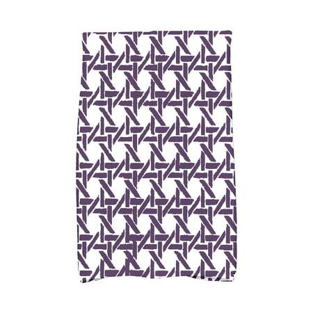Simply Daisy, 16 x 25 inch, Rattan Geometric, Geometric Print Kitchen Towel, Purple ()