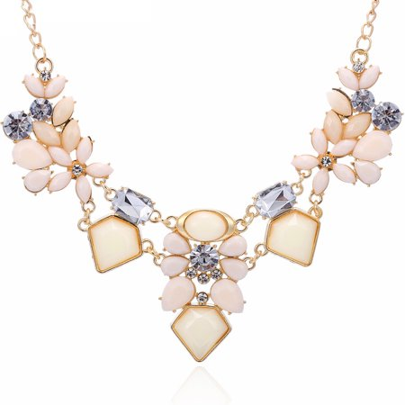 Women Fashion Crystal Necklace Jewelry Statement Pendant Charm Chain (Crystal Flower Choker Necklace)