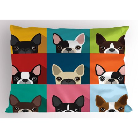 Boston Standard Sham - Boston Terrier Pillow Sham Minimalist Colorful Assortment of Terrier Portraits Multiple Variations, Decorative Standard Queen Size Printed Pillowcase, 30 X 20 Inches, Multicolor, by Ambesonne
