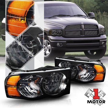 Smoke Tinted Headlight Amber Signal Reflector For 02 05 Dodge Ram 1500 2500 3500 03 04