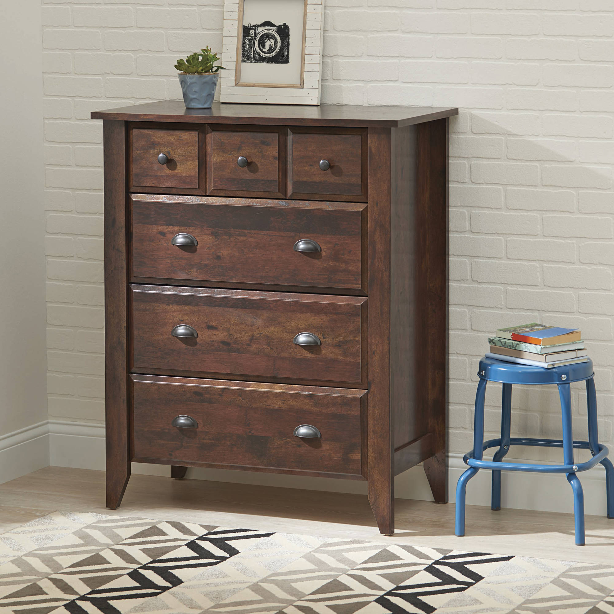 Better Homes And Gardens Leighton 4 Drawer Chest Rustic Cherry