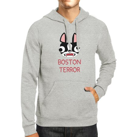 Boston Terror Terrier Grey Halloween Hoodie Fleece Dog Mom (Terrier Dog Sweatshirt)