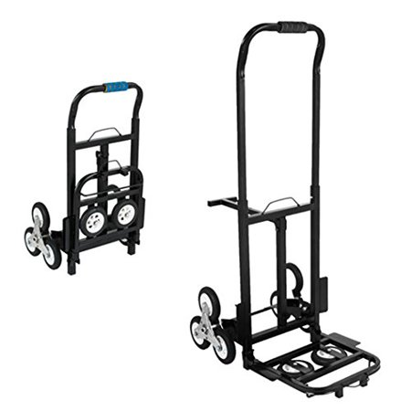 BestEquip Portable 330 LBS Capacity Stair Climbing Cart 30 Inch Folded Height Stair Climber Hand Truck with Three-wheel Chassis and Two Spare Wheels for Easy