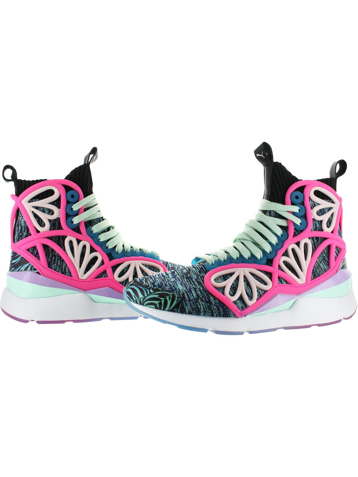 Puma Womens Pearl Cage Graph Mid Knit Printed Fashion Sneakers