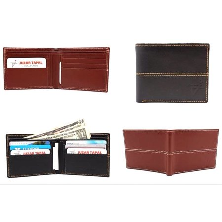 Black Men Leather Slim Bi-fold Wallet Hipster Italian Style 10 Card Slot with Gift Box (52-05-15) Black Italian Favor Boxes