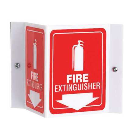 ACCUFORM SIGNS PSP618 Fire Extinguisher Sign, 6 x 8-1/2In, WHT/R