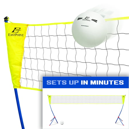 EastPoint Sports Easy Setup Volleyball Set; 7 Feet 1 Inch Tall and 30 Feet Wide Net; Set Contains Net with Tripod Leg System, Volleyball, Inflating Volleyball Pump, 4 Ground Stakes and Carry