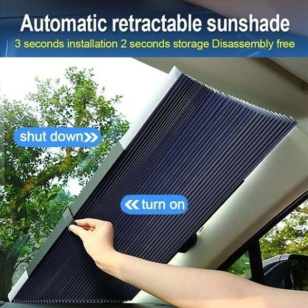 AUTOYOUTH Car Windshield Sun Shade,Retractable Sun Shade,Heat Insulation Auto-Scaling Free Cut Easy to Install Car Front Window Sunshades for Most Sedans SUV Truck