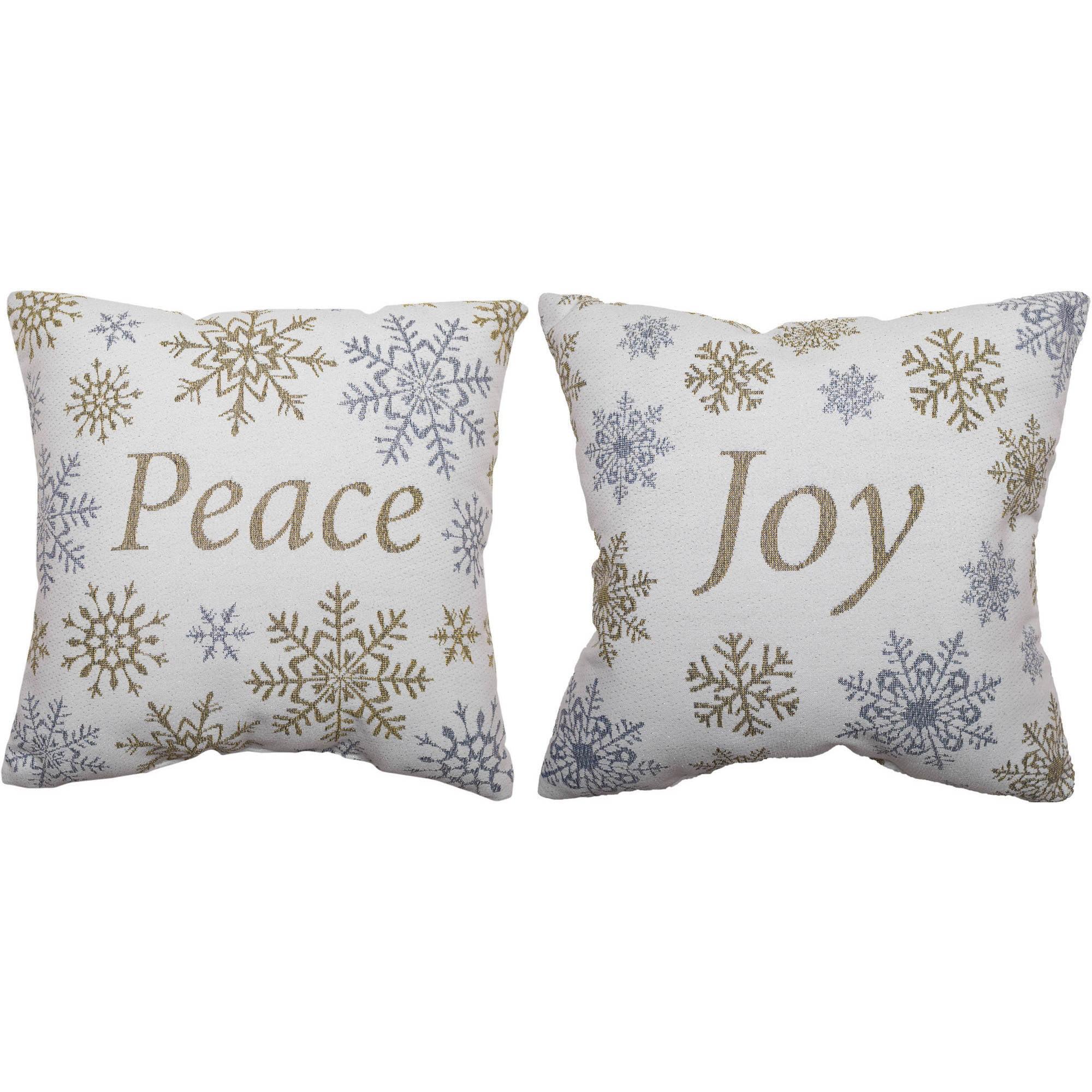 2pk Holiday Time Peace Joy Christmas Pillow Walmart Com Walmart Com