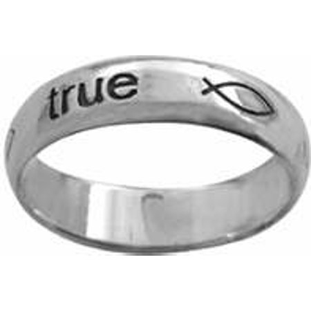 Ring True Love Waits W Ichthuses Style 834  Sterling Silver  Size 10