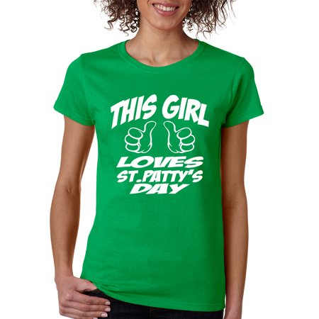 Allntrends Womens T Shirt This Girl Love St Pattys Day Cool Party Tee