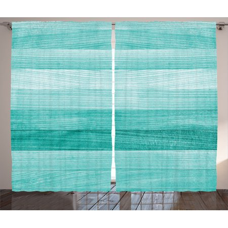 Teal Decor Curtains 2 Panels Set, Painted Wood Texture Penal Horizontal Lines Birthdays Easter Holiday Print Backdrop, Living Room Bedroom Accessories, By Ambesonne (Teal Bedroom Accessories)