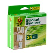 "Duck 4.25"" x 2.5"" White Foam Insulating Seal Socket Sealers, 24-pack"