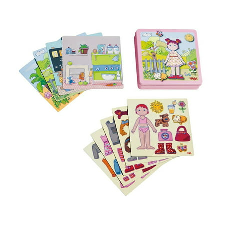 HABA Dress-up Doll Lilli Magnetic Game Box - 54 Magnet Pieces and 4 Backgrounds in Metal (Magnetic Fun Tin)
