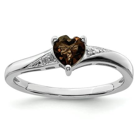 925 Sterling Silver Smoky Quartz Diamond Band Ring Size 8.00 S/love Gemstone For Women
