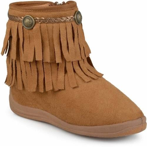 Brinley Co. Toddler Girls' Fringed Round Toe Boots