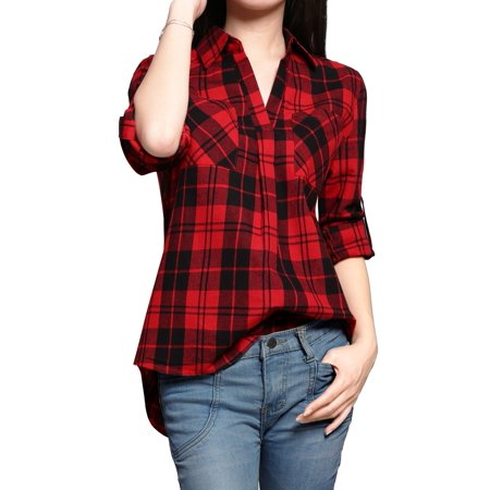Women's Point Collar Roll Up Sleeves High Low Hem Plaid - Plaid High Top