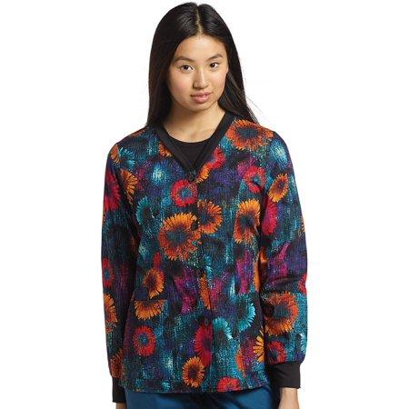 Allure by White Cross Women's Warm Up Floral Print Scrub Jacket (Holiday Print Scrub Jacket)