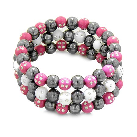 - Amulets Set of 3 Individual Simulated Hematite Magnetic Bracelets in White Hot Pink Sparkling Crystals