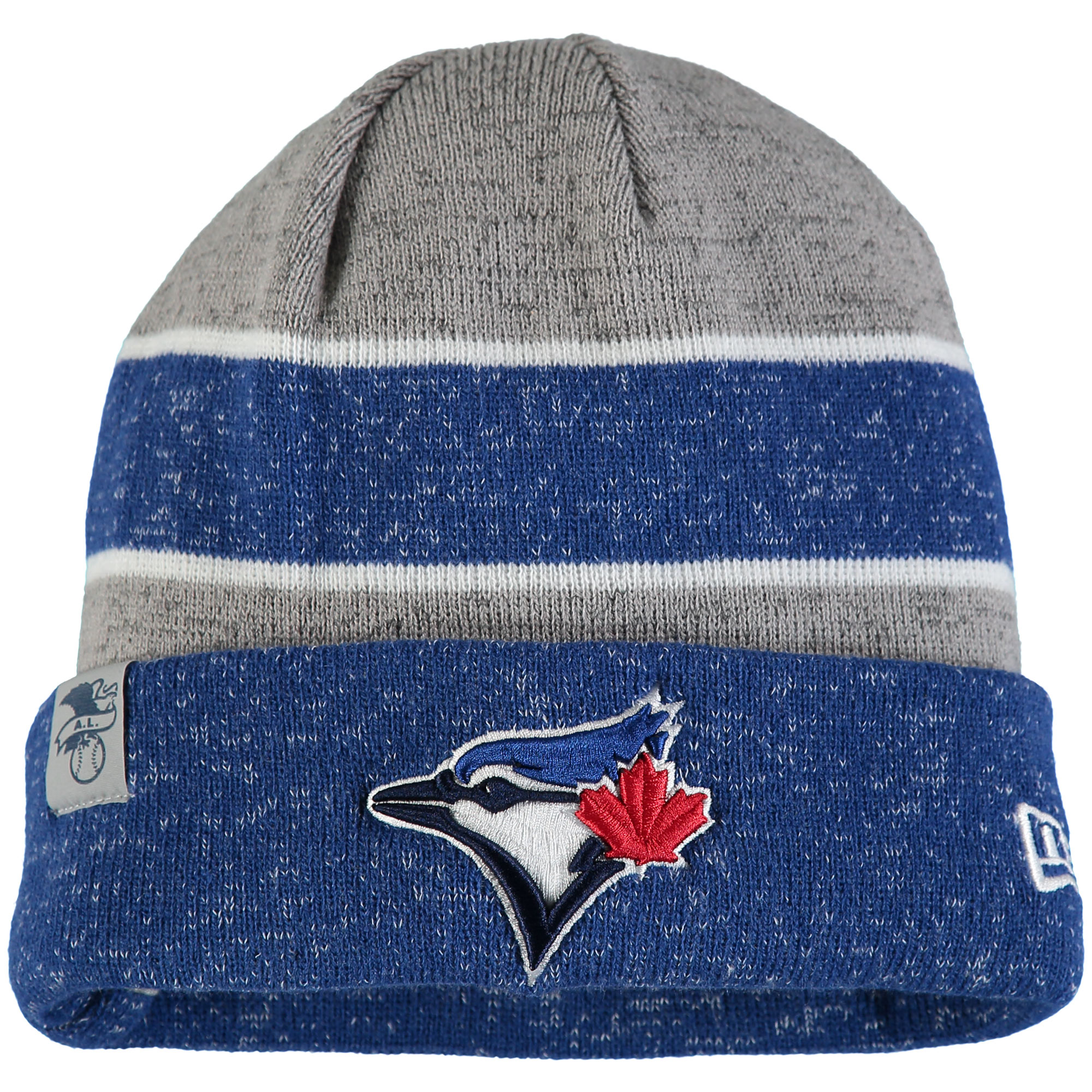Toronto Blue Jays New Era On Field Sport Cuffed Knit Hat - Heathered Gray/Heathered Royal - OSFA