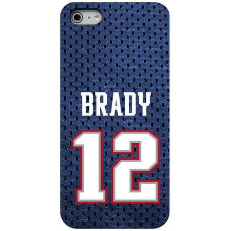 CUSTOM Black Hard Plastic Snap-On Case for Apple iPhone 5 / 5S / SE - Brady 12 Jersey