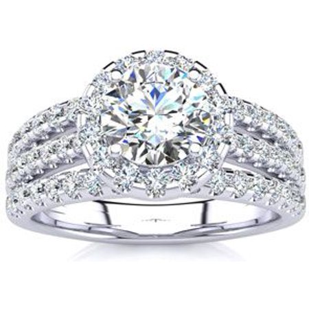 1 2/3 Carat Round Halo Diamond Engagement Ring in 14k White Gold Size 4.5