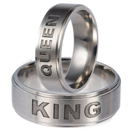 Steel Skin Titanium Ring (Ginger Lyne Collection King or Queen Titanium Steel Wedding Band Ring )