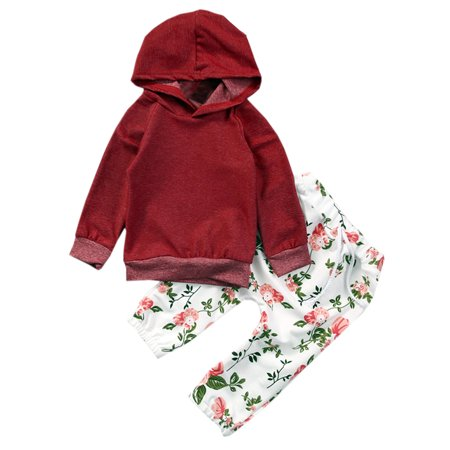 2c9b6411f577 StylesILove - Infant Baby Girl Floral Pattern Long Sleeve Hoodie and ...