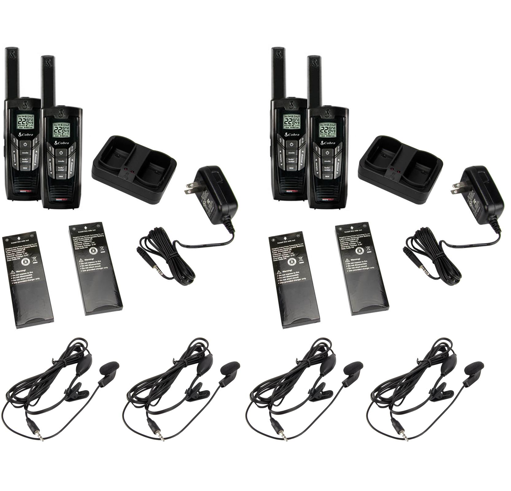 (4) COBRA CXR925 35 Mile 22 Ch Two Way Radios Walkie Talkies + Earbud & Mic Sets