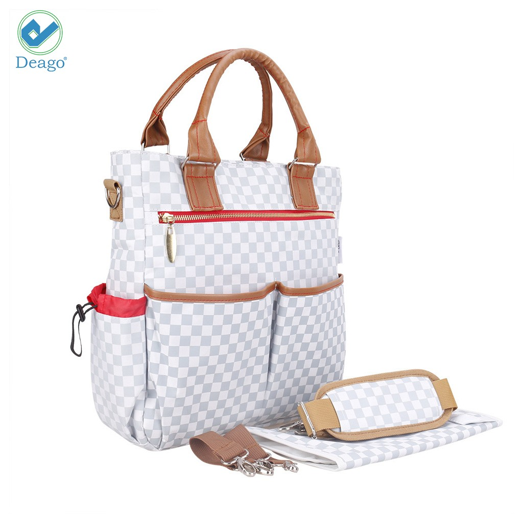 Deago Baby Diaper Tote Bag + Matching Changing Pad +2PCS Stroller Strap Multi-Function Travel Carry Handbag Nappy Bags for Baby Care