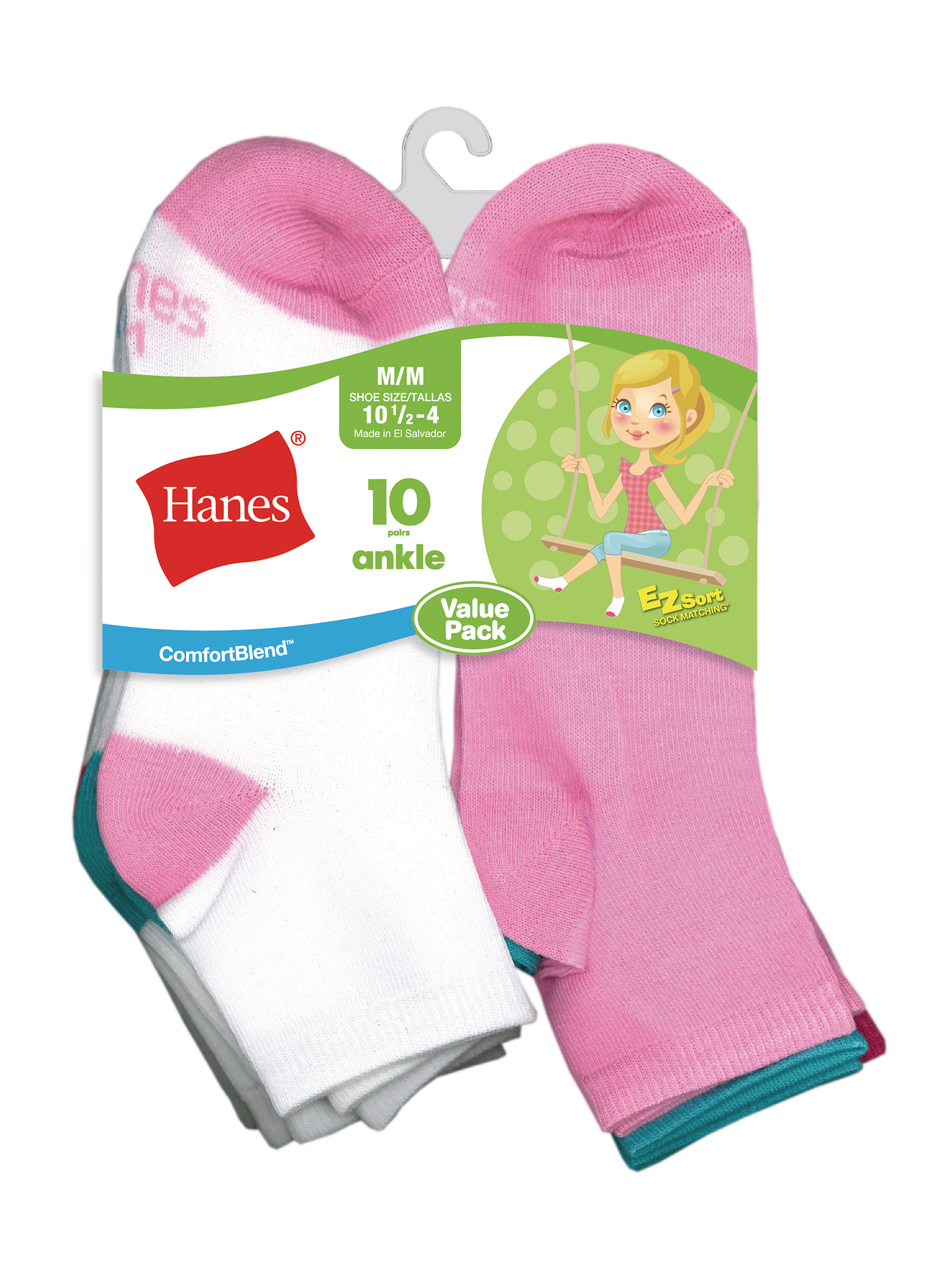 Hanes Ankle Socks, 10 Pairs (Little Girls & Big Girls)