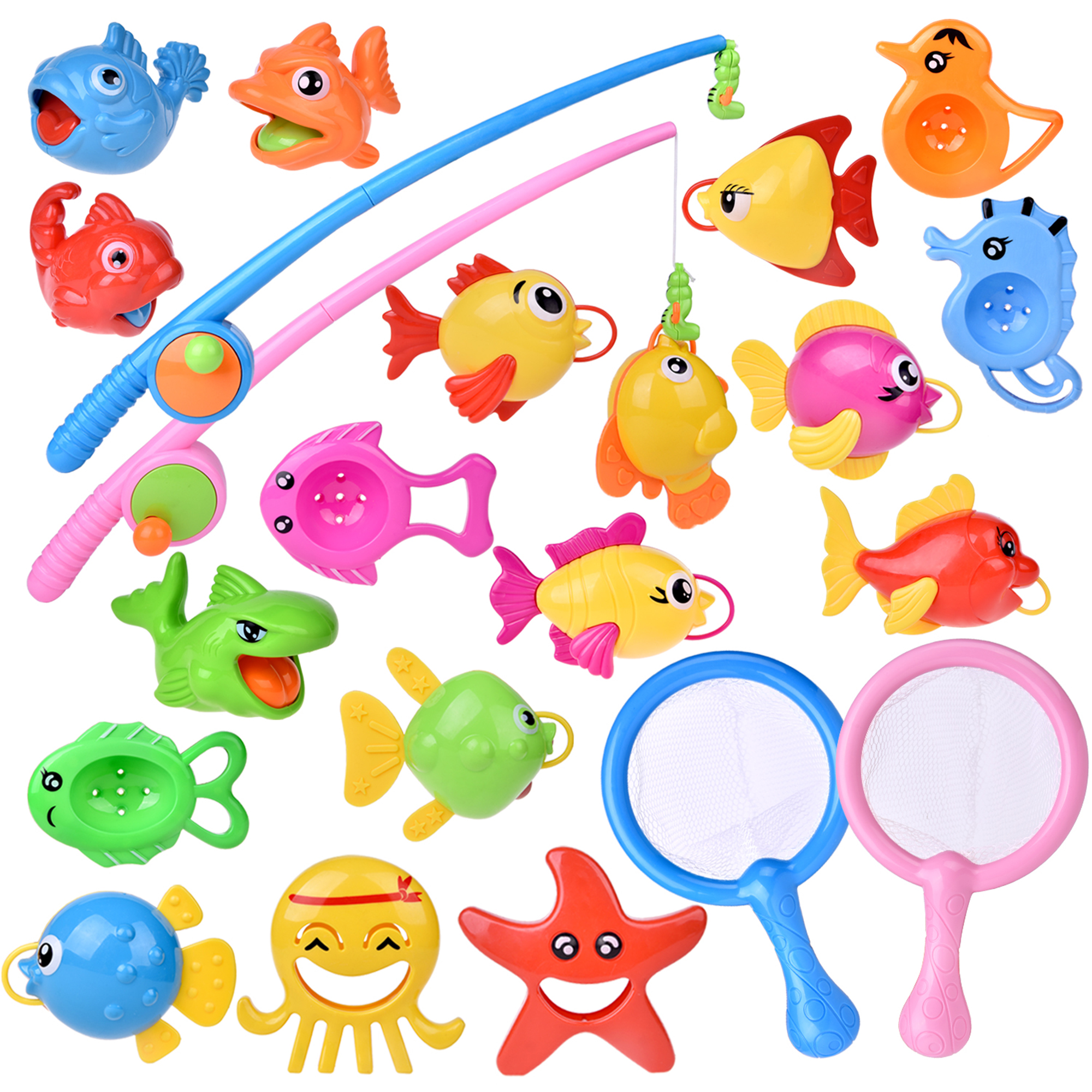 Fishing Bath Toys for Toddler and Baby with Fishing Rod ,Fishing Net 22PCs F-201
