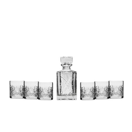 "Bohemia Crystal Whiskey Set ""Graffiti"", Clear Crystal Decanter and Six Heavy-Base Whisky Scotch Brandy Glasses, Classic Elegant Carafe and Whiskey Tumblers, 1+6-Piece Set + Special Gift Figurine"