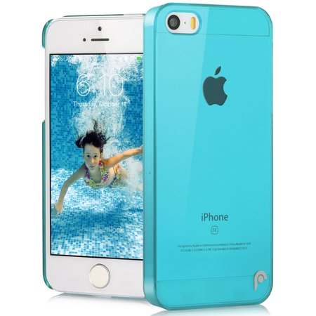 Blue Crystal Hard Snap On Transparent Case Skin Cover for Apple iPhone 5/5s/SE ()
