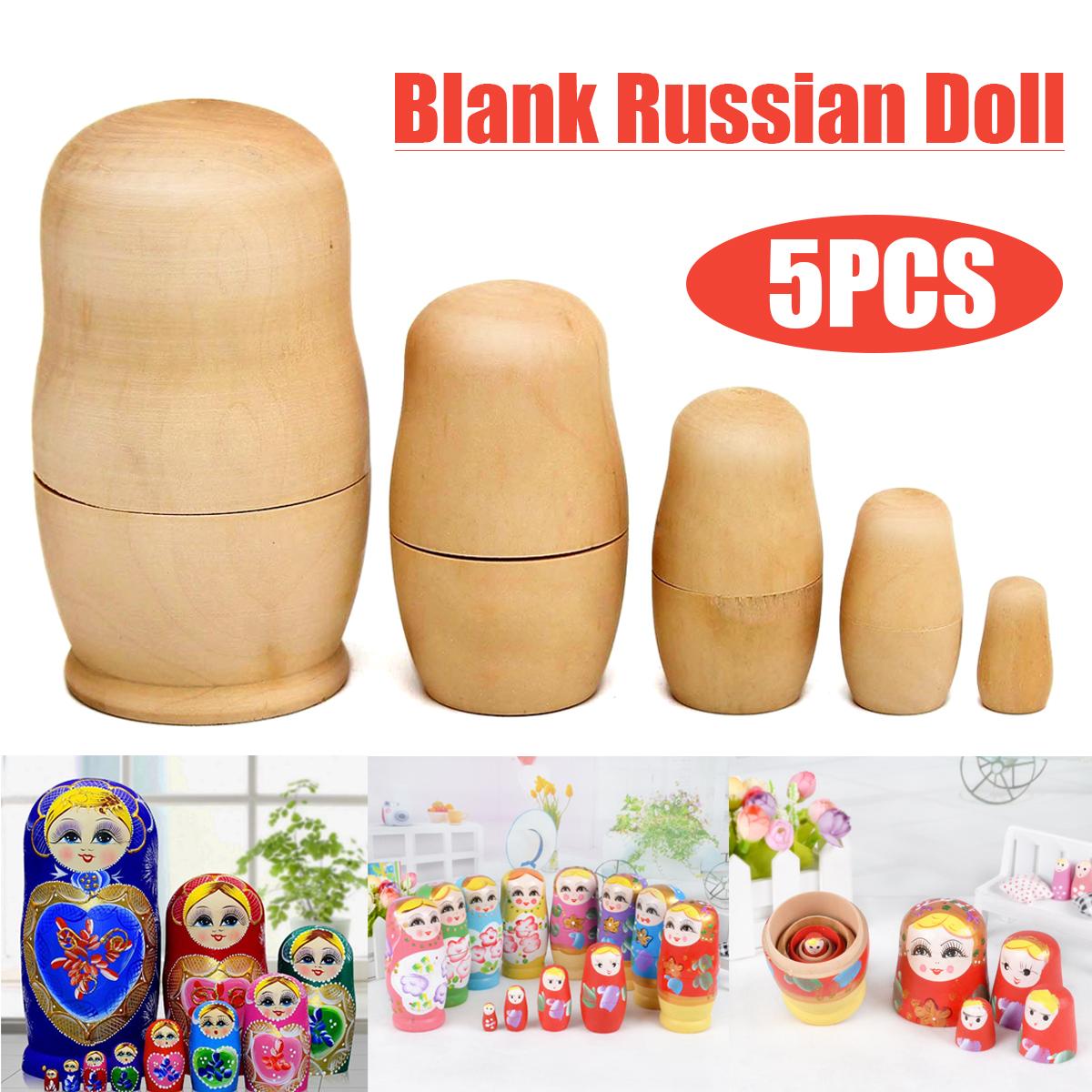 5pcs DIY Unpainted Blank Wooden Embryo Russian Nesting ...