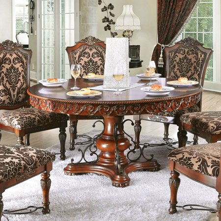 Furniture Of America Tifanil Traditional 60 Inch Brown Cherry Round Dining Table By Foa