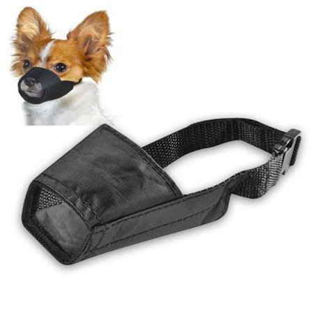 Insten Dog Muzzle Guardian Gear Black Fabric Nylon Adjustable No Bite Bark Size 5.5
