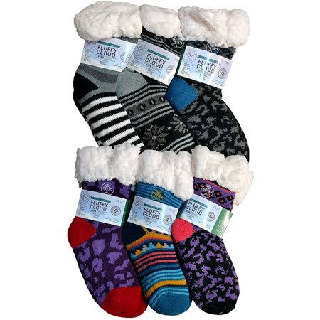 75efc59eb60 Frozen Folk - 6 Pairs Kids Fleece-Lined Cozy Sherpa Fluffy Cloud Socks