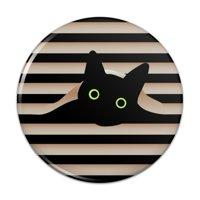 "Black Cat In Window Compact Pocket Purse Hand Cosmetic Makeup Mirror - 2.25"" Diameter"