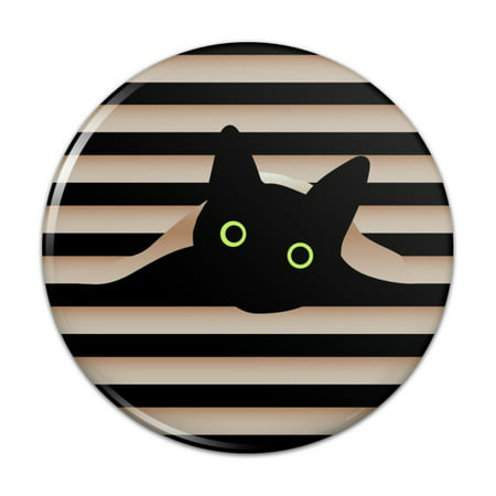 "Black Cat In Window Compact Pocket Purse Hand Cosmetic Makeup Mirror - 2.25"" Diameter"