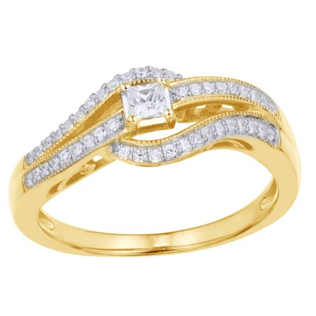 Princess Cut White Natural Diamond Split Waves Promise Ring in 10k Yellow Gold By Jewel Zone