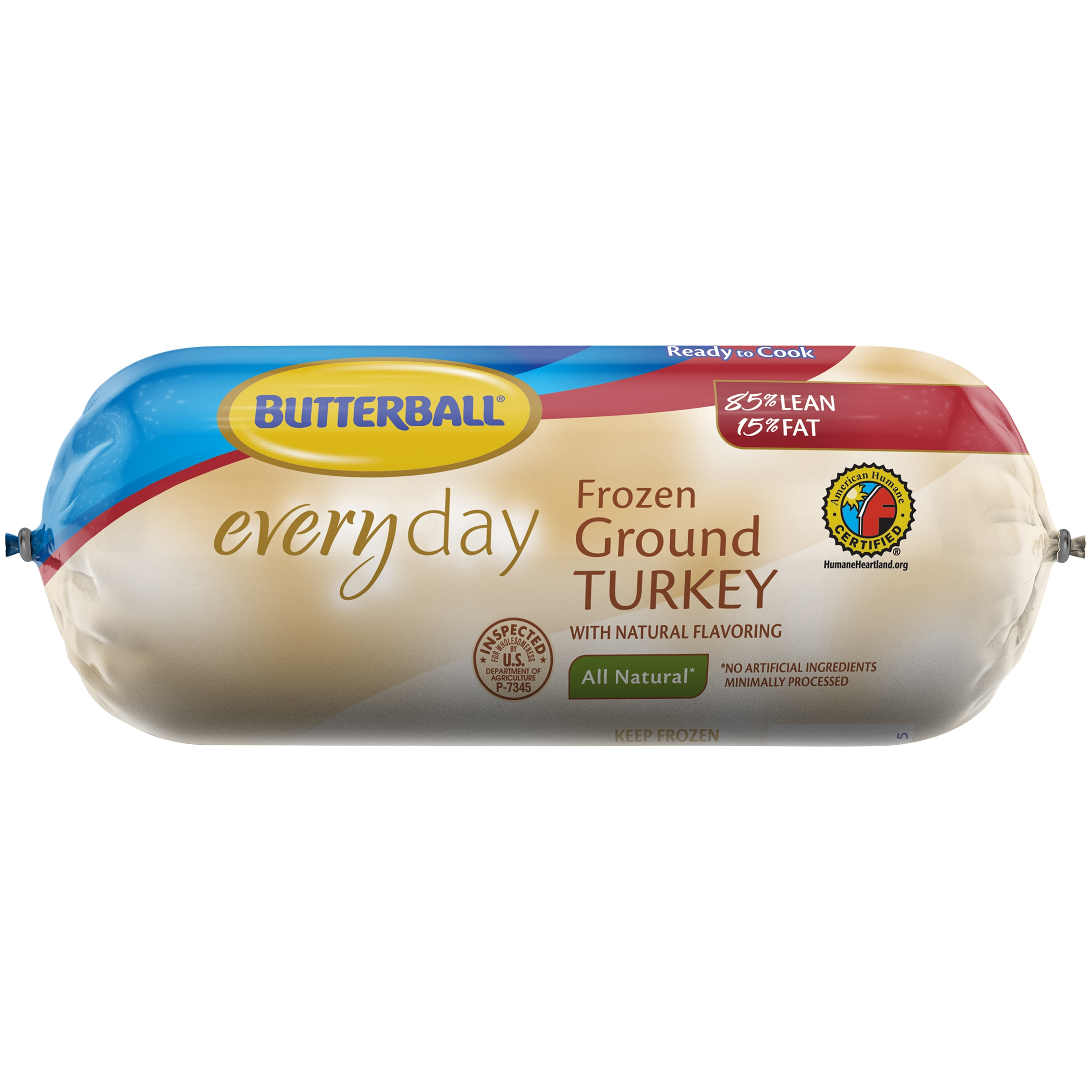 Butterball® Everyday All Natural Frozen Ground Turkey 85% Lean 16 oz. Chub