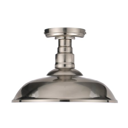 "Chapter 12"" LED Decorative Semi Flush-Mount Ceiling Fixture, Satin Nickel"