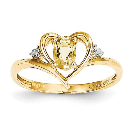 14k Yellow Gold Gemstone Ring - 14k Yellow Gold 6x4 Oval Diamond & Citrine Ring Gem Wt- 0.45ct