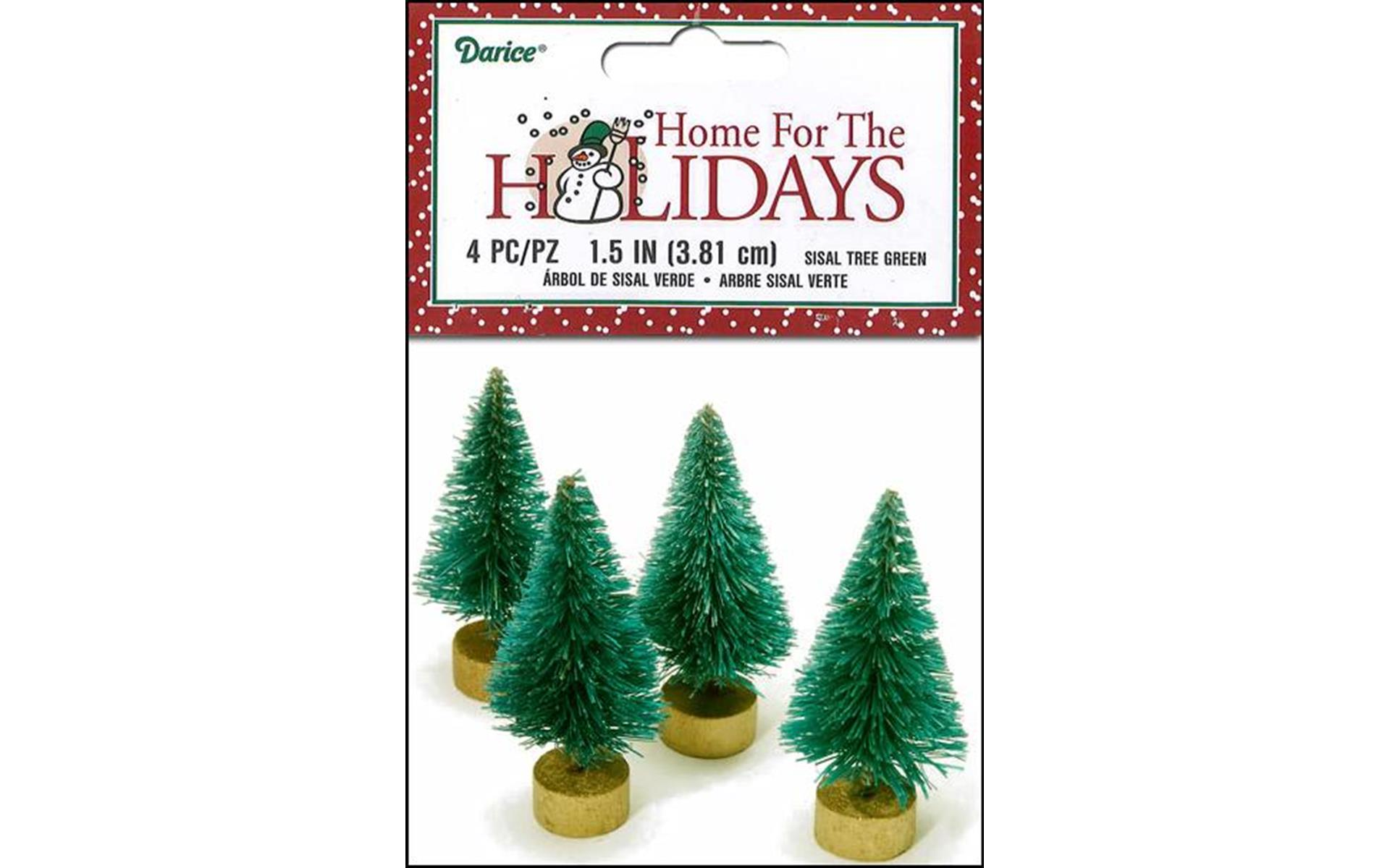 "Darice Holiday Sisal Christmas Tree 1.5"" Green 4pc"
