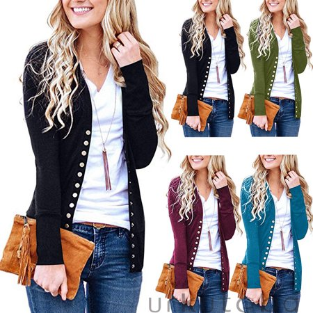 Women Cotton Knitted Long Sleeve Open Front Cardigan Sweater Button Down Outwear Coat
