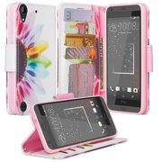 HTC Desire 530 Case, Wrist Strap Magnetic Fold[Kickstand] Pu Leather Wallet Case with ID & Credit Card Slots for HTC Desire 530 - Vivid Sunflower