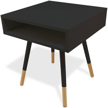 Mainstays Styx Pocket Bedside Table Solid Wood Nightstand In Black